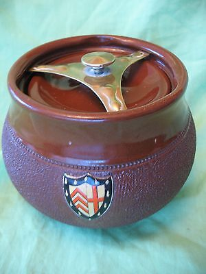 Rare old vintage Langley pottery Clare College Cambridge tobacco jar with crest
