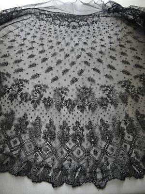A Beautiful Antique Black Lace Shawl c.1880
