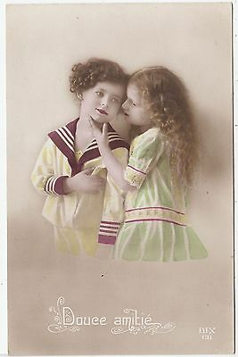 DOUCE AMITIE - Two Children about to Kiss - Dix 131 - c1910s Real Photo postcard