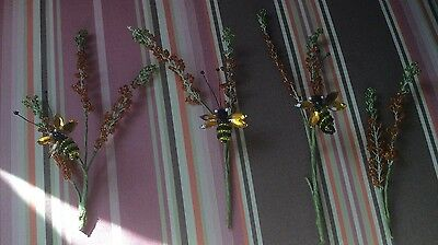 Vintage French Glass Beaded Flowers Floral Stems With Bees