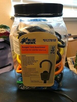 Blue Hawk Bungee Cord Assortment 24 Piece New!!!