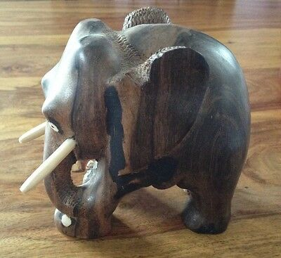 "Carved Wood Tusked Elephant Ornament - 5"" Tall"