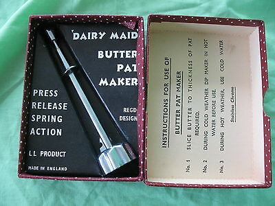 Old vintage mid century boxed Dairy Maid Butter Pat Maker release spring action
