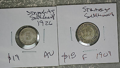 Straits Settlement 1926 5 Cents and  1909 10 Cents Silver coins