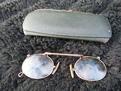 Antique Pair Of Pince Nez Gold Metal Spring Bridge Spectacles.1900-10.steampunk.
