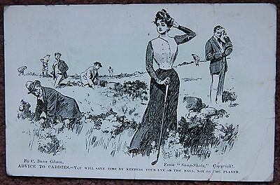 1904 Golf Keep Your Eye on the Ball Not the Player Vintage Postcard Golfing