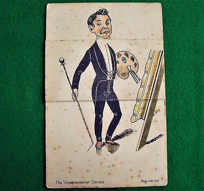 Antique Novelty Fold Out Postcard The Impersonation Series Milton No. 415