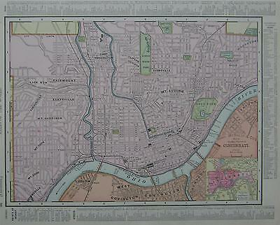 1898 Cincinnati, Oh. Dated Color Atlas map*  Ohio on back.  120 years old!