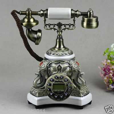 European Style High Grade Resin Elephant White Antique Ancient Dial Telephone