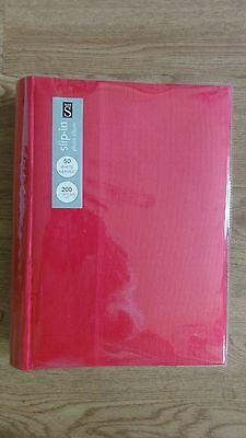 WHS large pink slip-in photo album.50 pages. 200 photos.hard cover. Cord cover