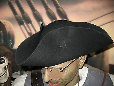 "Pirate tricorn hat XL black fit up to 24"" 61cm head"