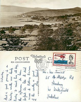 s08135 From above Fairlie, Largs, Ayrshire, Scotland RP postcard 1963 stamp