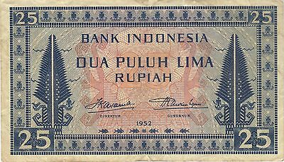 1952 25 Rupiah Indonesia Currency Banknote Note Money Bank Bill Cash Asia Rare