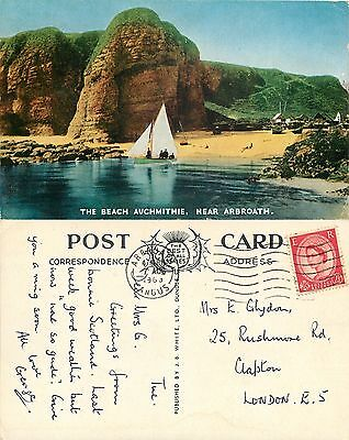 s08174 Auchmithie Beach, Arbroath, Angus, Scotland postcard posted 1963 stamp