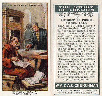 Full Set Of 50 Wa & Wc Churchman 1934 The Story Of London Cigarette Cards