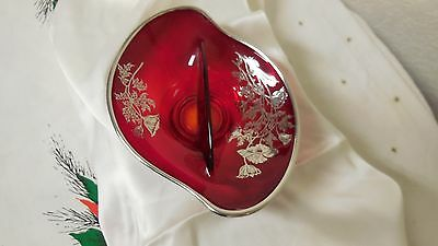 Vintage Ruby Red Divided Candy Or Relish Dish With Silver Floral Over-Lay