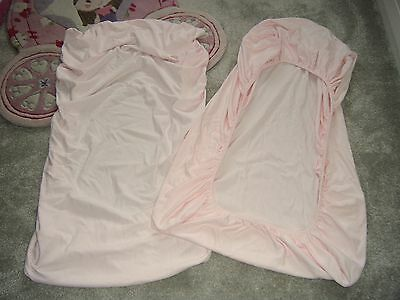 MAMAS & PAPAS 2 x FITTED SHEETS for COT BED / SMALL BED - PALE PINK 100% COTTON