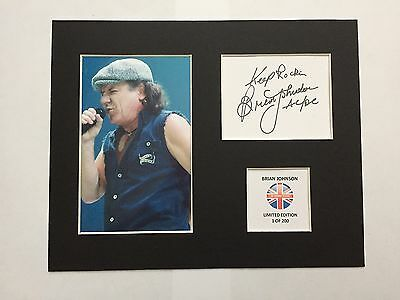 Limited Edition BRIAN JOHNSON Signed Mount Display Music ACDC AUTOGRAPH