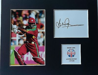 Limited Edition Brian Lara West Indies Cricket Signed Mount Display AUTOGRAPH