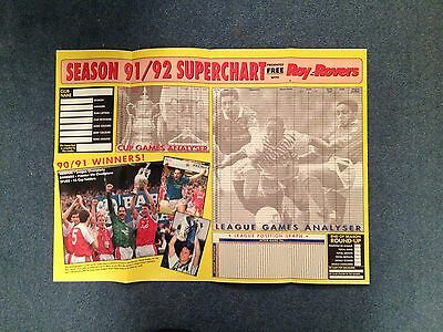 Roy Of The Rovers 91-92 Superchart League Performance Chart Free Gift Unused