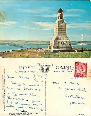s08204 War Memorial, Dundee, Angus, Scotland postcard posted 1960 stamp