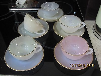 Arcopal,x 5 Hariquin,coloured Glass Coffee Cups & Saucers,lovely Condition