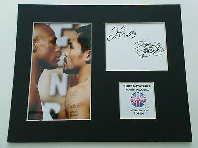 Limited Edition Mayweather Pacquiao Boxing Signed Mount Display AUTOGRAPH