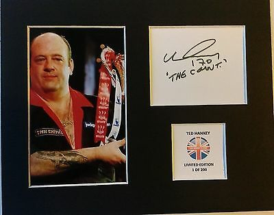 Limited Edition Ted Hankey Darts Signed Mount Display THE COUNT HANKY HANKEY