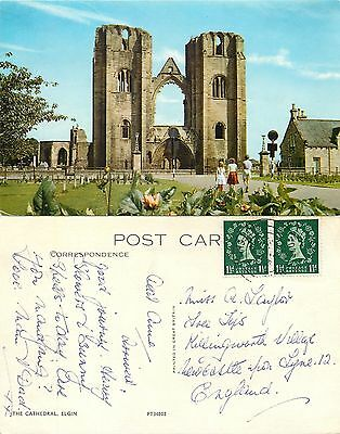 s08228 Cathedral, Elgin, Moray, Scotland postcard posted 1967 stamp
