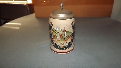 "Vintage St Anton Am Arlberg Lidded Stein Marked KING Austria 6"" BEAUTIFUL"