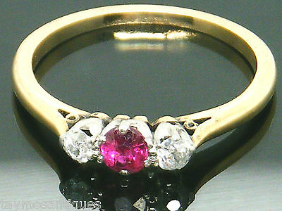 Antique 18k gold 18ct  gold ruby & old mine cut diamond ring size O Boxed
