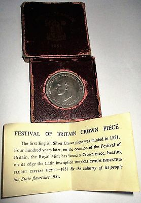 1951 Festival Of Britain Crown Piece Coin In Original Box With Certificate.