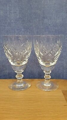 2 Royal Doulton/Webb Corbett Crystal small wine glasses with Crown on base