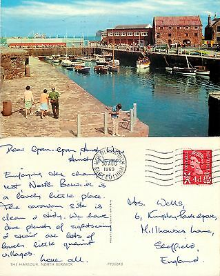 s08244 Harbour, North Berwick, East Lothian, Scotland postcard posted 1969 stamp