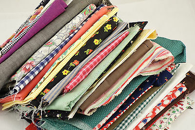 Lot Vintage Fabric Remnants Scraps 3.11 lbs Sewing Quilt Craft 35 Pieces F