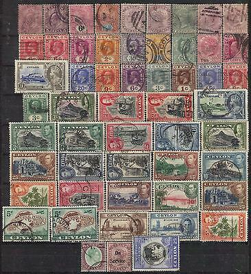 54 used CEYLON stamps pre 1950