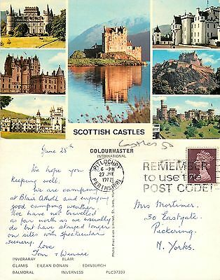 s08262 Castles, Scotland postcard posted 1977 stamp