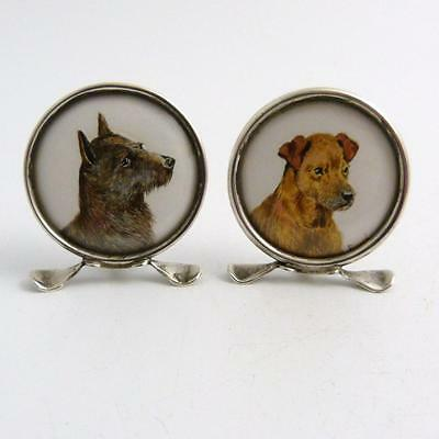 Pair Of Silver-Mounted Menu Holders With Signed Dog Portraits, Gray & Co Chester