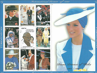 TURKMENISTAN Lady Diana 1997 Souvenir Sheet MNH