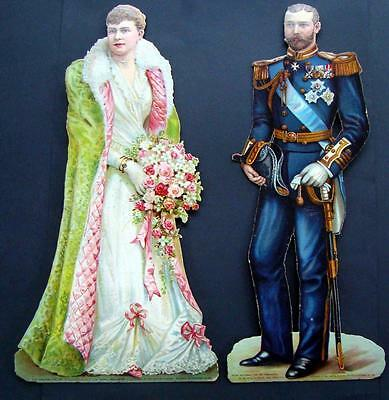 J02 - Huge Diecut Antique Scraps - King George V & Queen Mary - Birn Bros