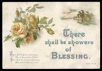 J04 - Large Victorian Religious Motto Chromolithographic Print - Blessing
