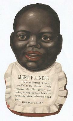J08 - Hudson's Soap - Mercifulness Baby - Large Victorian Trade Advertising Card
