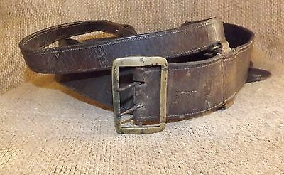 Orig. WW2 ROMANIAN ARMY BROWN OFFICER LEATHER BELT + BUCKLE
