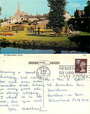 s08287 The Rose Garden, Forres, Moray, Scotland postcard posted 1978 stamp