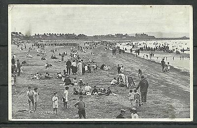 Postcard : Troon Ayrshire holiday makers on the sands