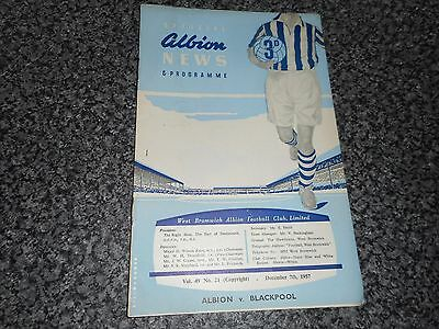 WEST BROMWICH ALBION  v  BLACKPOOL  1957/8  ~ DECEMBER 7th  *****FREE POST*****