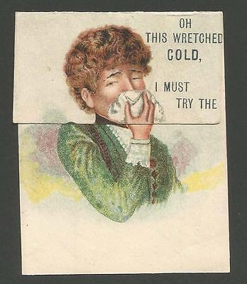 J23 - Carbolic Smoke Ball For Colds - Victorian Folding Trade Advertising Card