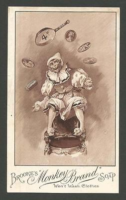 J28 - Brooke's Monkey Brand Soap - Clown - Victorian Trade Advertising Card