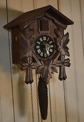 Small Vintage German Cuckoo Clock Clean Movement ALMOST WORKING Ships FAST