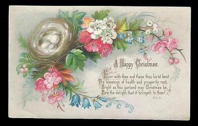 J52 - Flower Garland & Nest With Eggs - Embossed Victorian Xmas Card